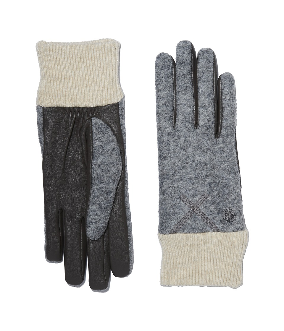 UGG Fabric Smart Gloves with Knit Trim (Grey Heather) Extreme Cold Weather Gloves