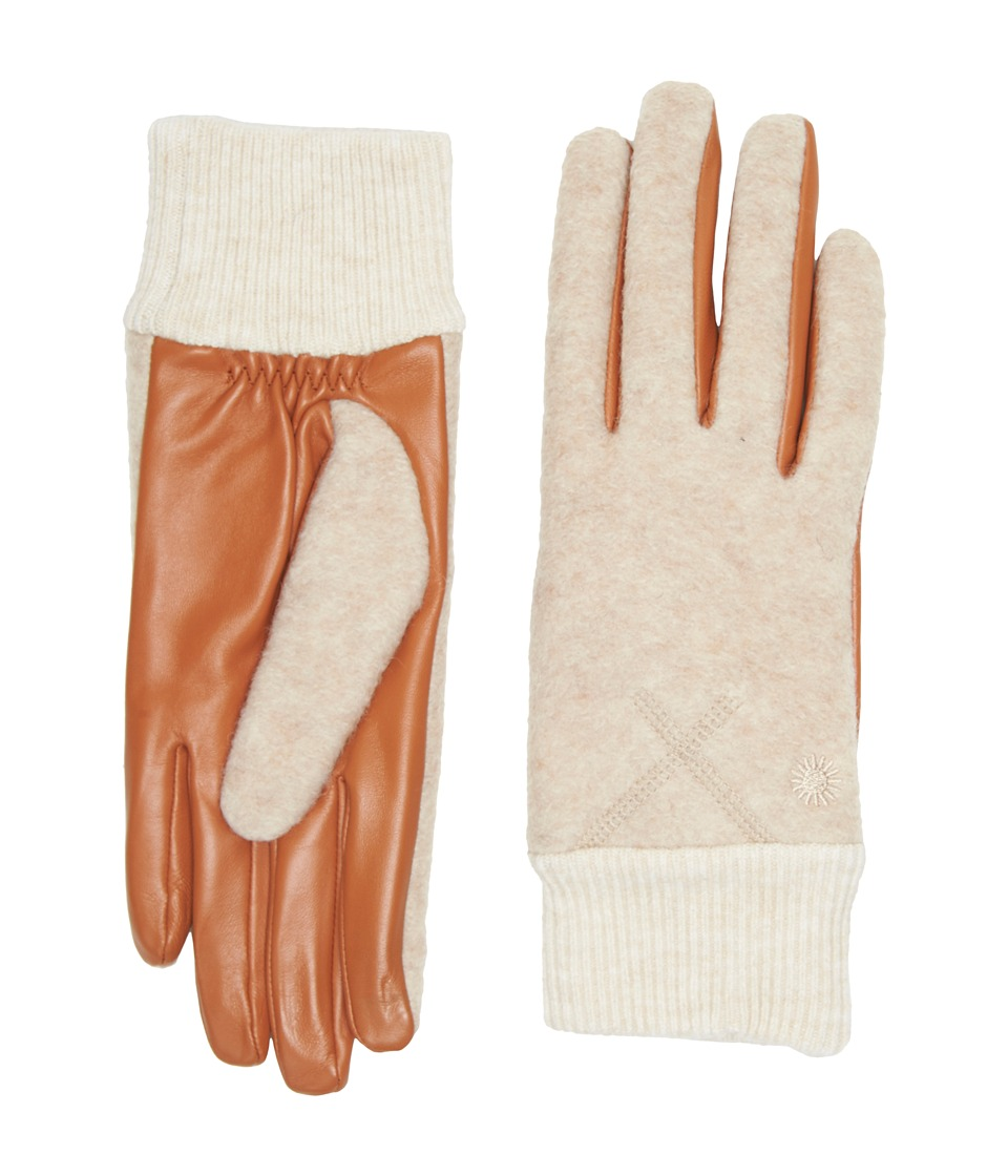 UGG Fabric Smart Gloves with Knit Trim (Natural Heather) Extreme Cold Weather Gloves