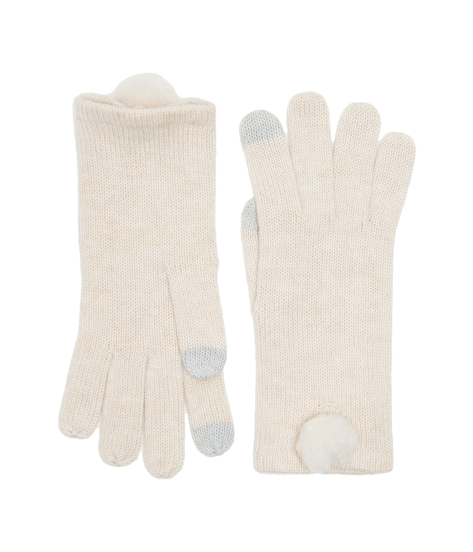 UGG Smart Gloves with Fur Pom (Ivory Heather Multi) Extreme Cold Weather Gloves
