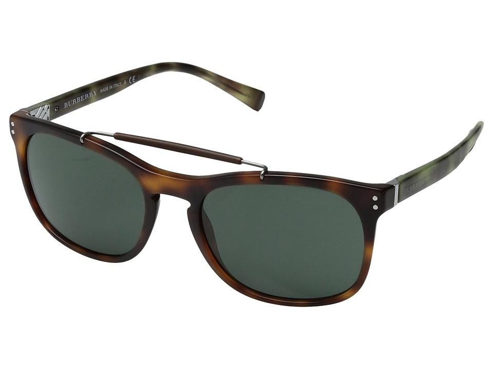 Burberry - 0BE4244 (Matte Light Tortoise/Grey Green) Fashion Sunglasses