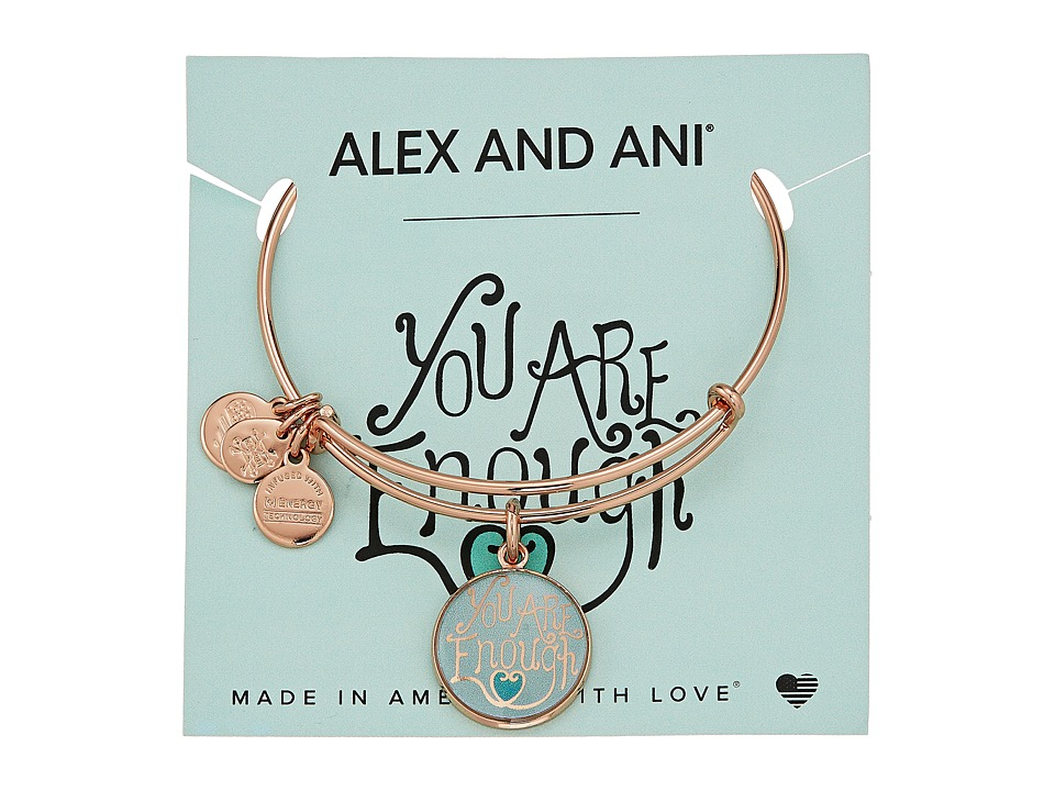 Alex and Ani - Words are Powerful - You are Enough Bangle (Shiny Rose Gold) Bracelet