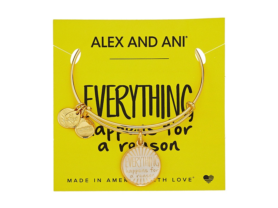 Alex and Ani - Words are Powerful - Everything Happens for a Reason II Bangle (Shiny Gold) Bracelet