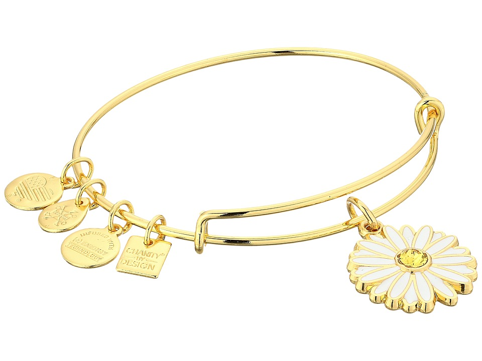 Alex and Ani - Charity By Design Daisy Bangle (Shiny Gold) Bracelet