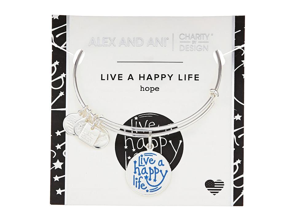 Alex and Ani - Charity By Design Live a Happy Life Bangle - Joe Andruzzi Foundation (Shiny Sliver) Bracelet