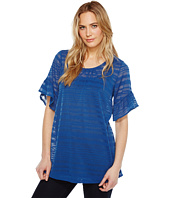 Nally & Millie - Ruffled Sleeve Sheer Stripe Tunic