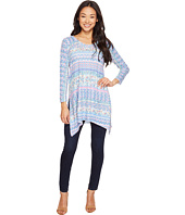 Nally & Millie - Printed Tile Stripes Three-Quarter Sleeve Tunic