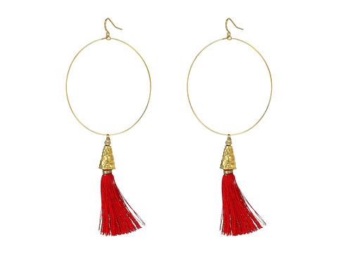 Vanessa Mooney The Summer of Love Tassel Hoop Earrings - Red