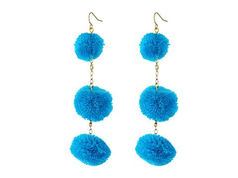 Vanessa Mooney The Dragnet Pom Poms Earrings - Blue
