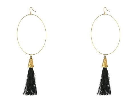 Vanessa Mooney The Summer of Love Tassel Hoop Earrings - Black