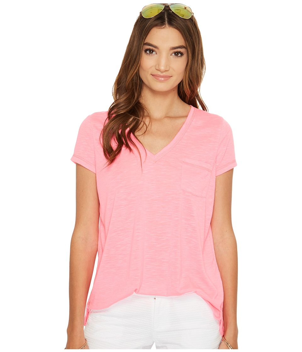 Lilly Pulitzer Luxletic Fay V-Neck T-Shirt (Tiki Pink) Women