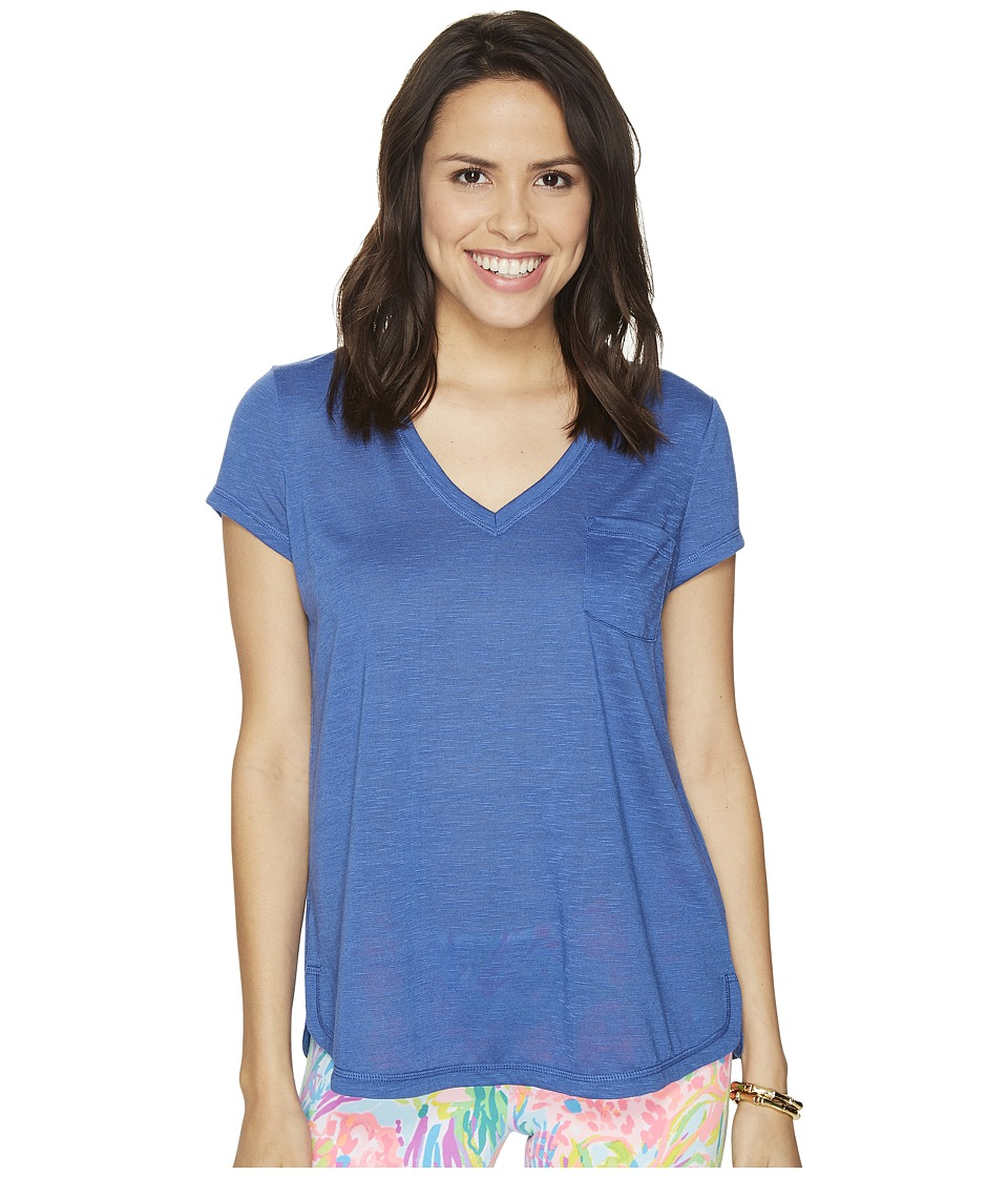 Lilly Pulitzer Luxletic Fay V-Neck T-Shirt (Indigo) Women