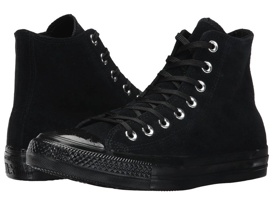 Converse - Chuck Taylor All Star - Mono Plush Suede Hi (Black/Black/Black) Womens Lace up casual Shoes