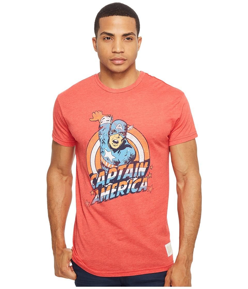 The Original Retro Brand Short Sleeve Heathered Captain America Tee (Heather Red) Men