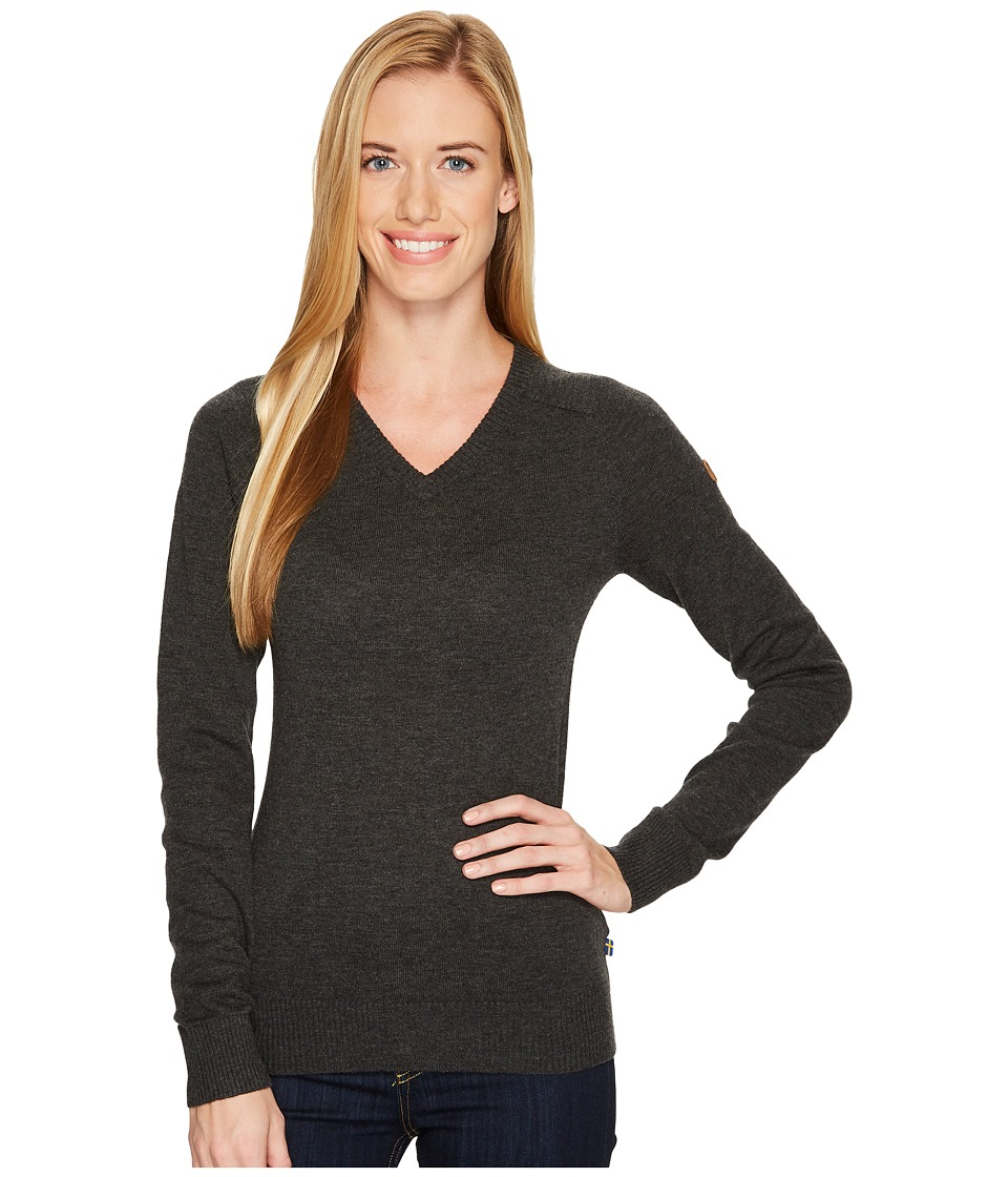 Fjallraven - Sormland V-Neck Sweater (Dark Grey) Womens Sweater