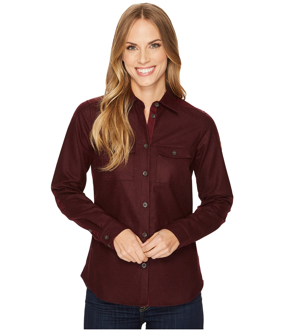 Fjallraven - Ovik Re-Wool Shirt (Dark Garnet) Womens Long Sleeve Button Up