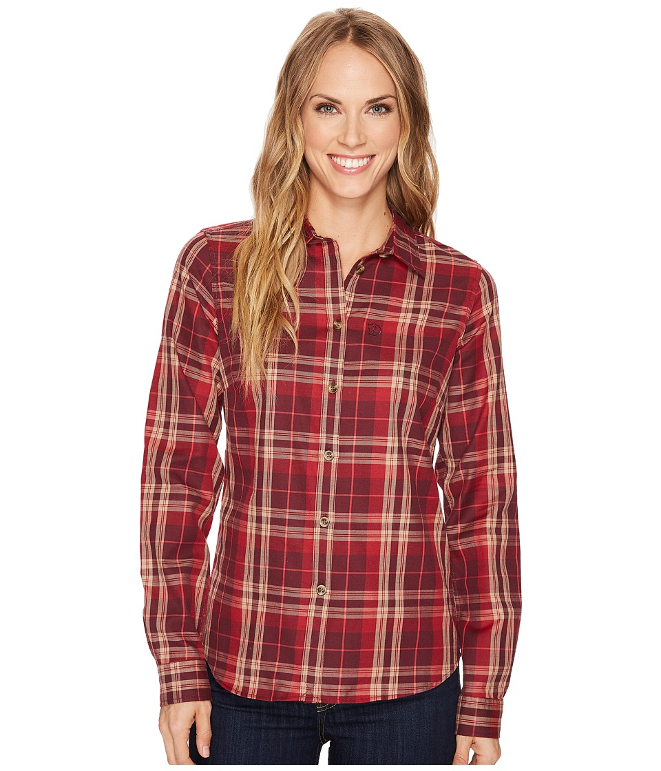 Fjallraven - Ovik Flannel Shirt (Dark Garnet) Womens Long Sleeve Button Up