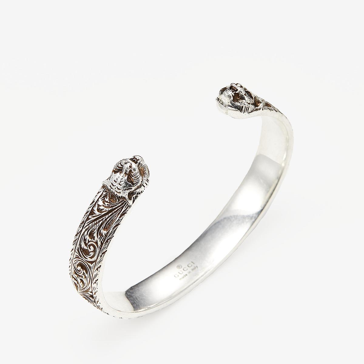 Gucci Gatto Bangle (Aged Silver) Bracelet