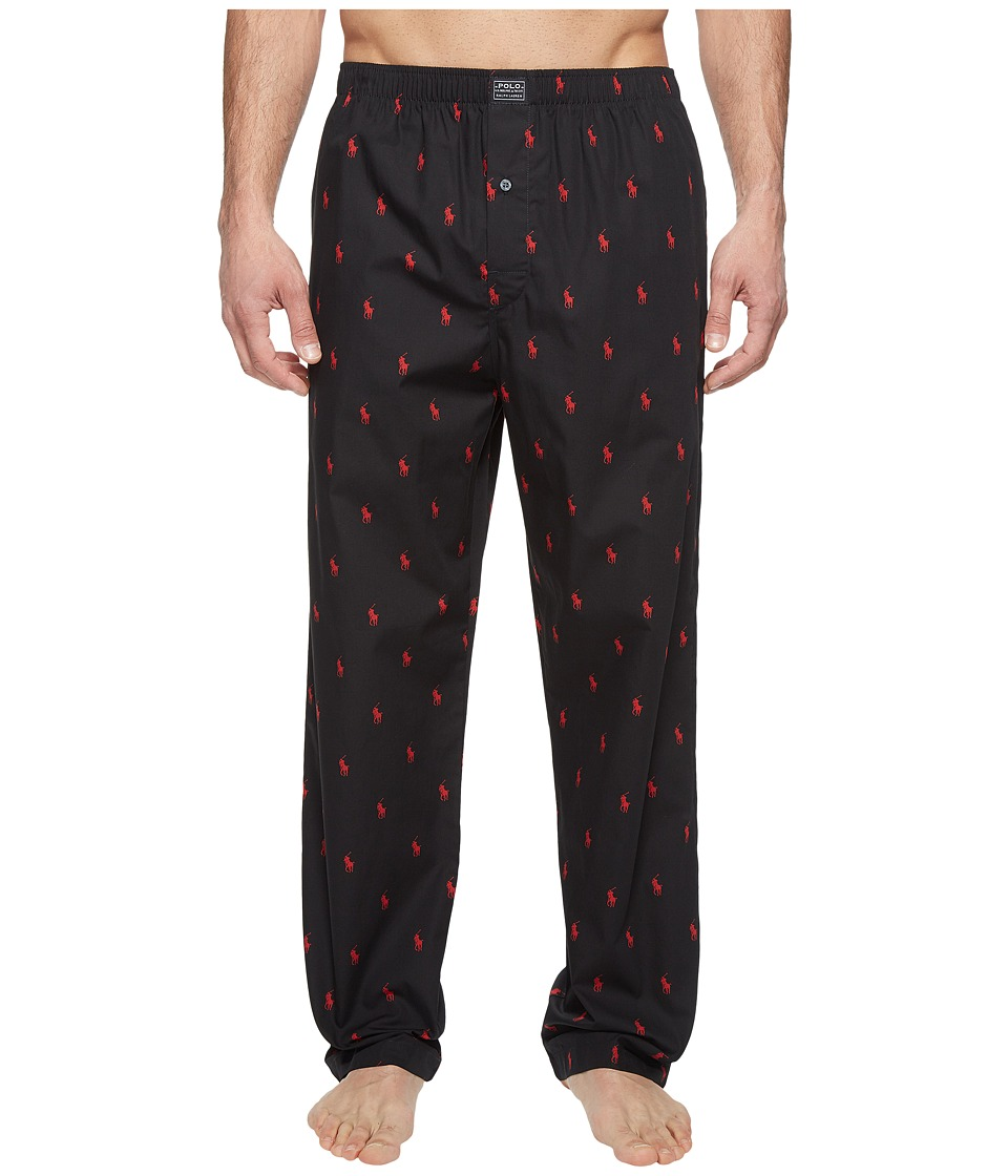 Ralph Lauren All Over Pony Player Woven Pants (Polo Black...