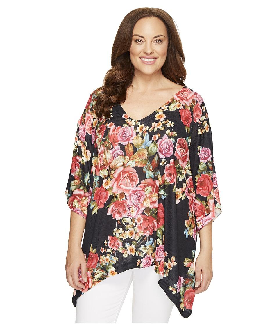 Nally & Millie - Plus Size Floral V-Neck Oversized Top