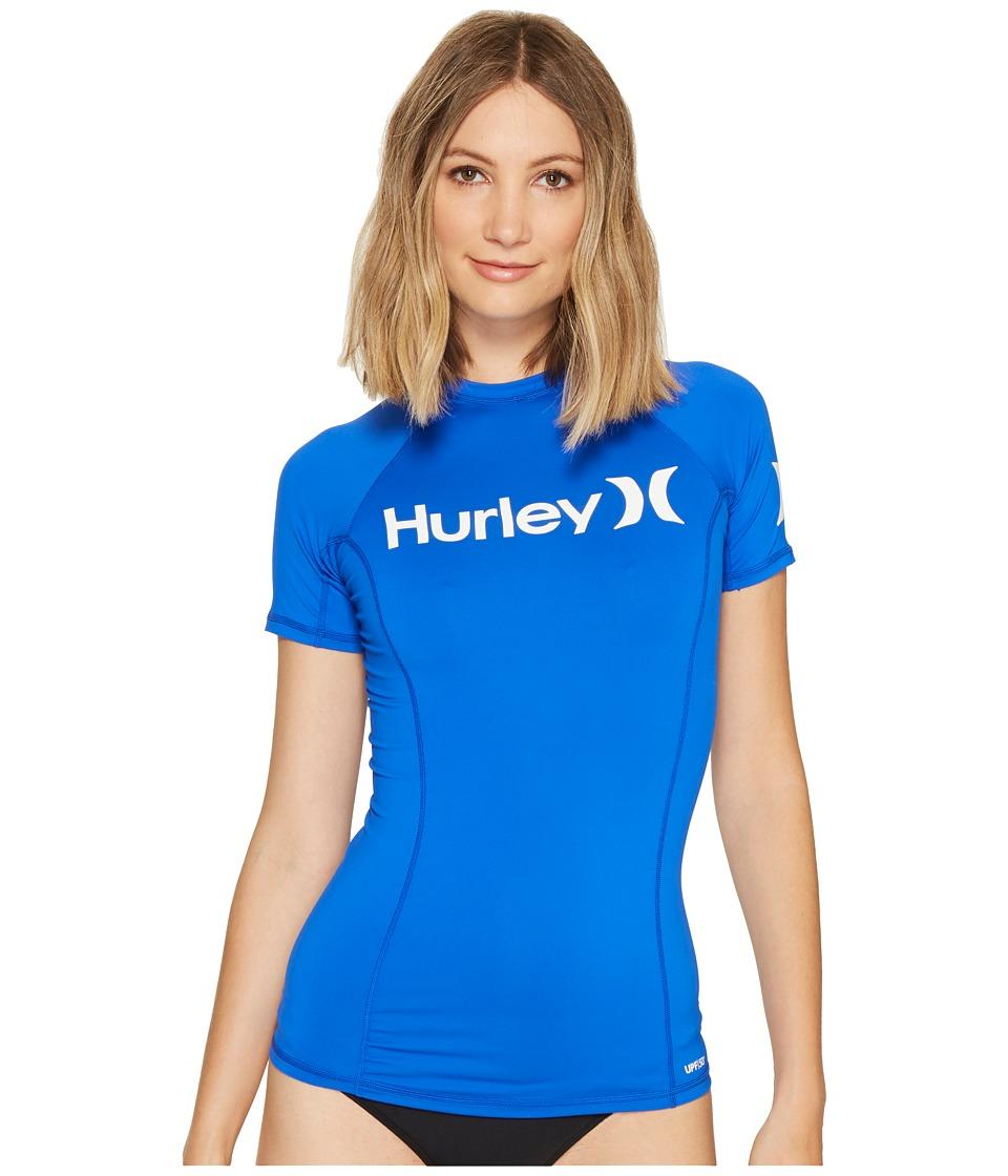 Hurley One Only S/S Rashguard (Racer Blue) Women