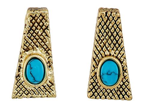 House of Harlow 1960 Tanta Crosshatch Stud Earrings - Gold/Blue