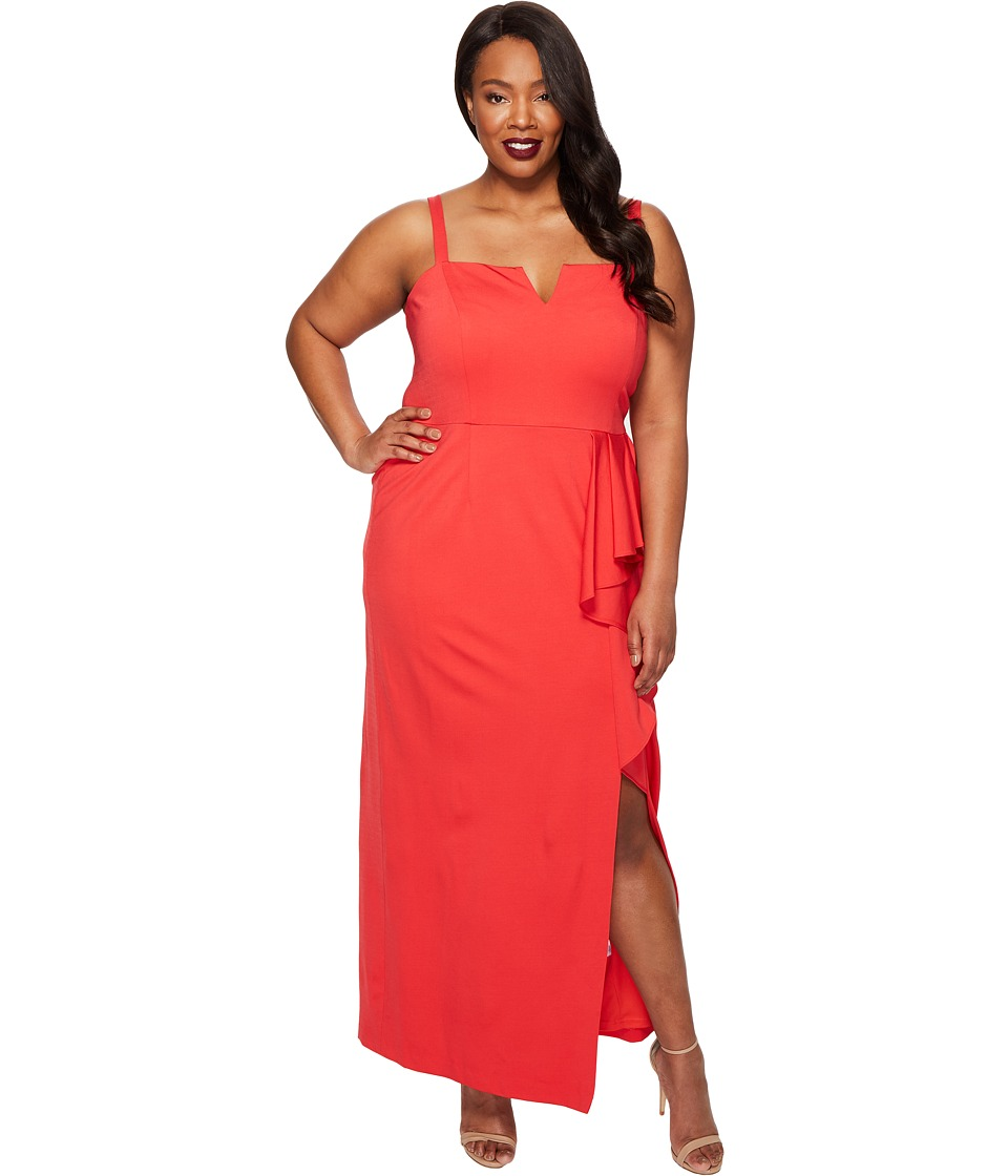 Adrianna Papell - Plus Size Jersey Front Cascade Gown
