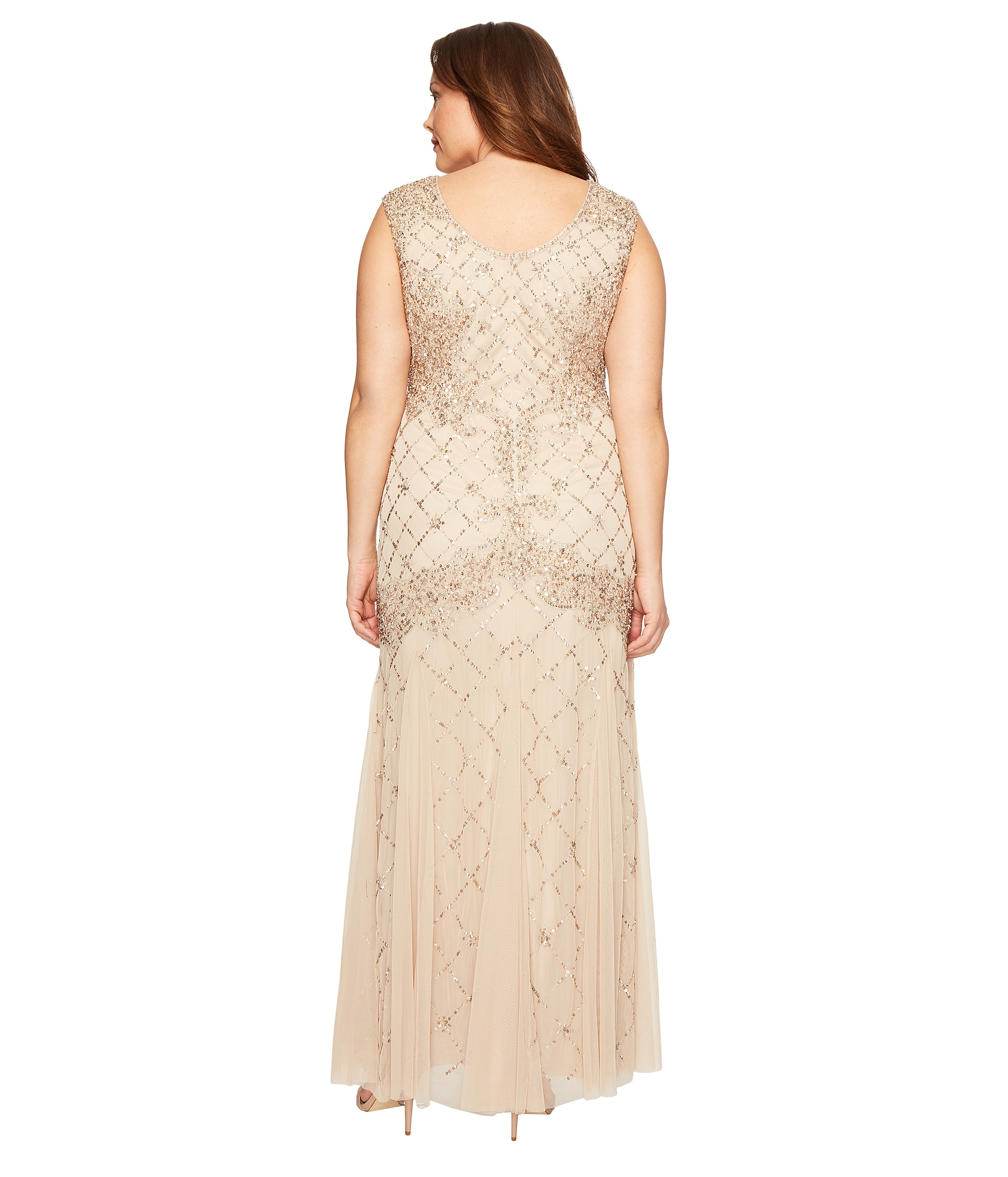 Adrianna Papell Plus Size Cap Sleeve Fully Beaded Lattice