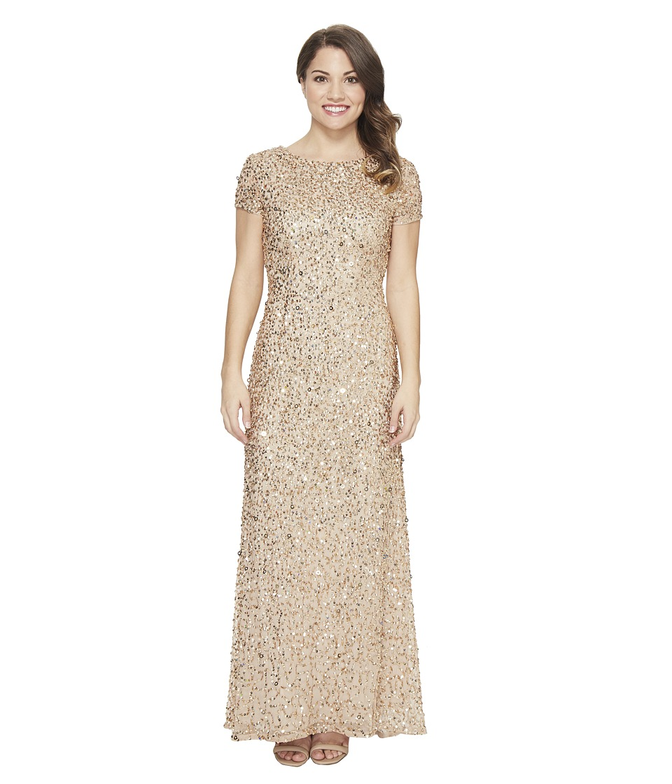 Adrianna Papell Petite Short Sleeve Scoop Back Long Beaded T-Shirt Gown (Champ/Gold) Women