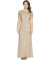 Adrianna Papell - Petite Short Sleeve Scoop Back Long Beaded T-Shirt Gown