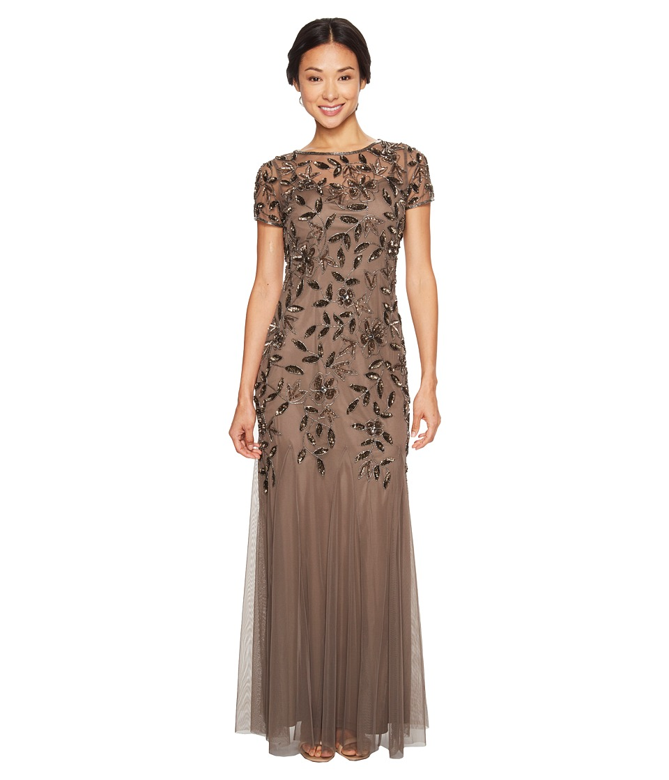 Adrianna Papell Petite Short Sleeve Fully Beaded Floral Motif Gown (Lead) Women