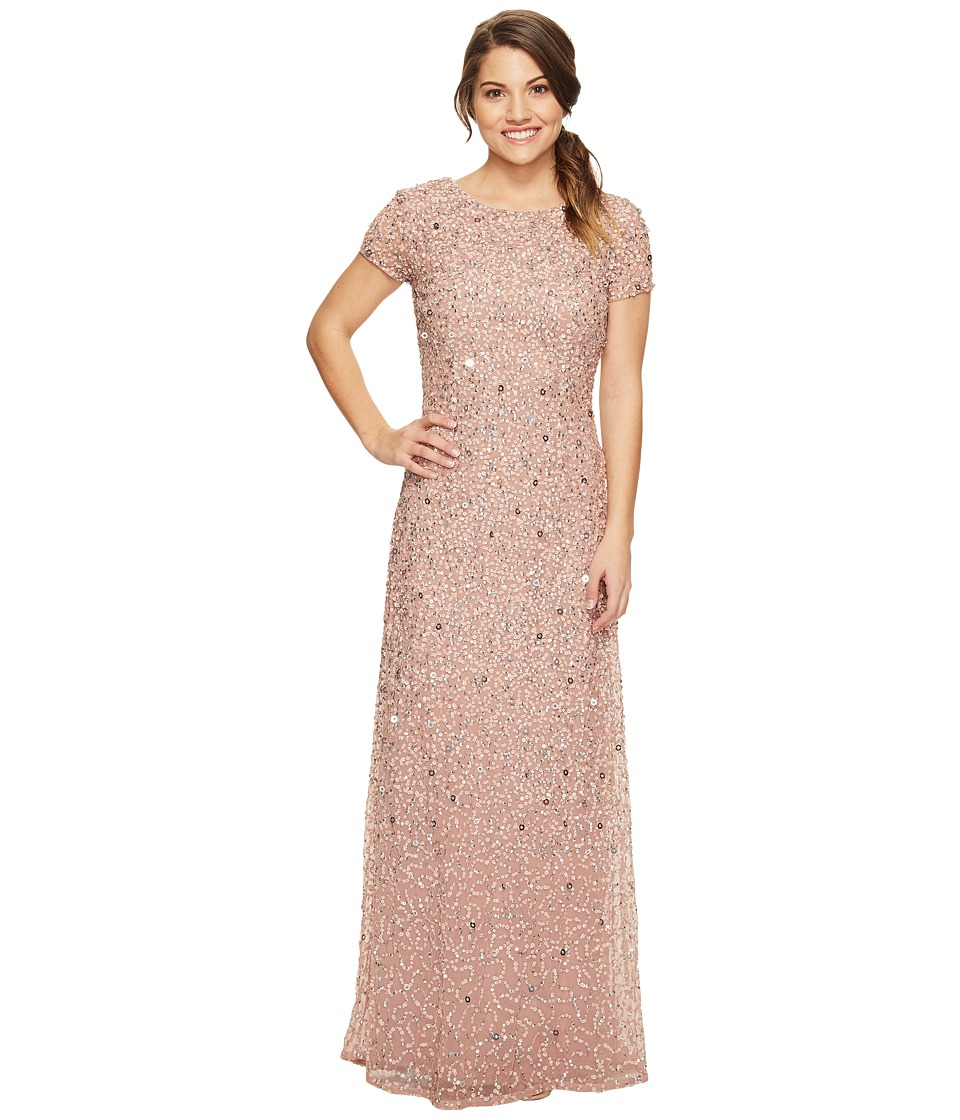 Adrianna Papell Petite Short Sleeve Scoop Back Fully Beaded T-Shirt Gown (Antique Rose) Women