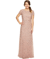 Adrianna Papell - Petite Short Sleeve Scoop Back Fully Beaded T-Shirt Gown