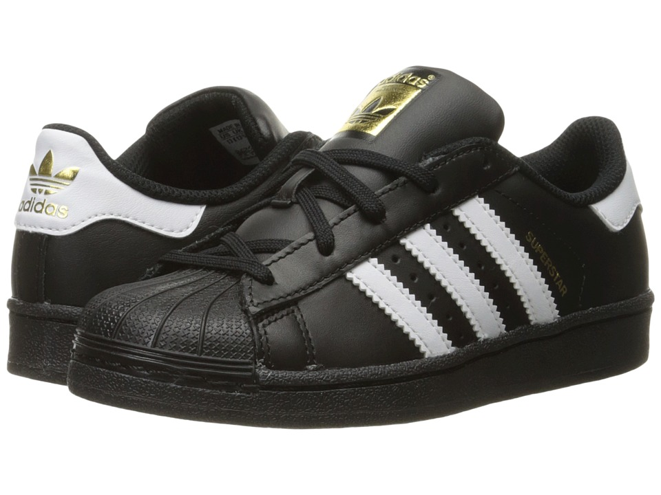 adidas Originals Kids - Superstar C Foundation (Little Kid) (Black/White/Black 2) Kids Shoes