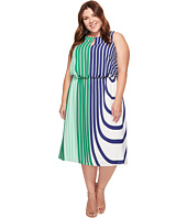 Adrianna Papell - Plus Size Beta Stripe Printed Georgette Blouson Halter Midi Dress