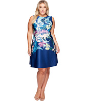 Adrianna Papell - Plus Size Tropical Essence Printed Scuba Jewel Neck Fit and Flare Dress