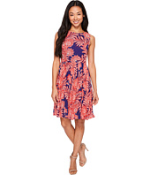Adrianna Papell - Petite Paisley Bandana Printed Chiffon Pleated Fit and Flare Dress