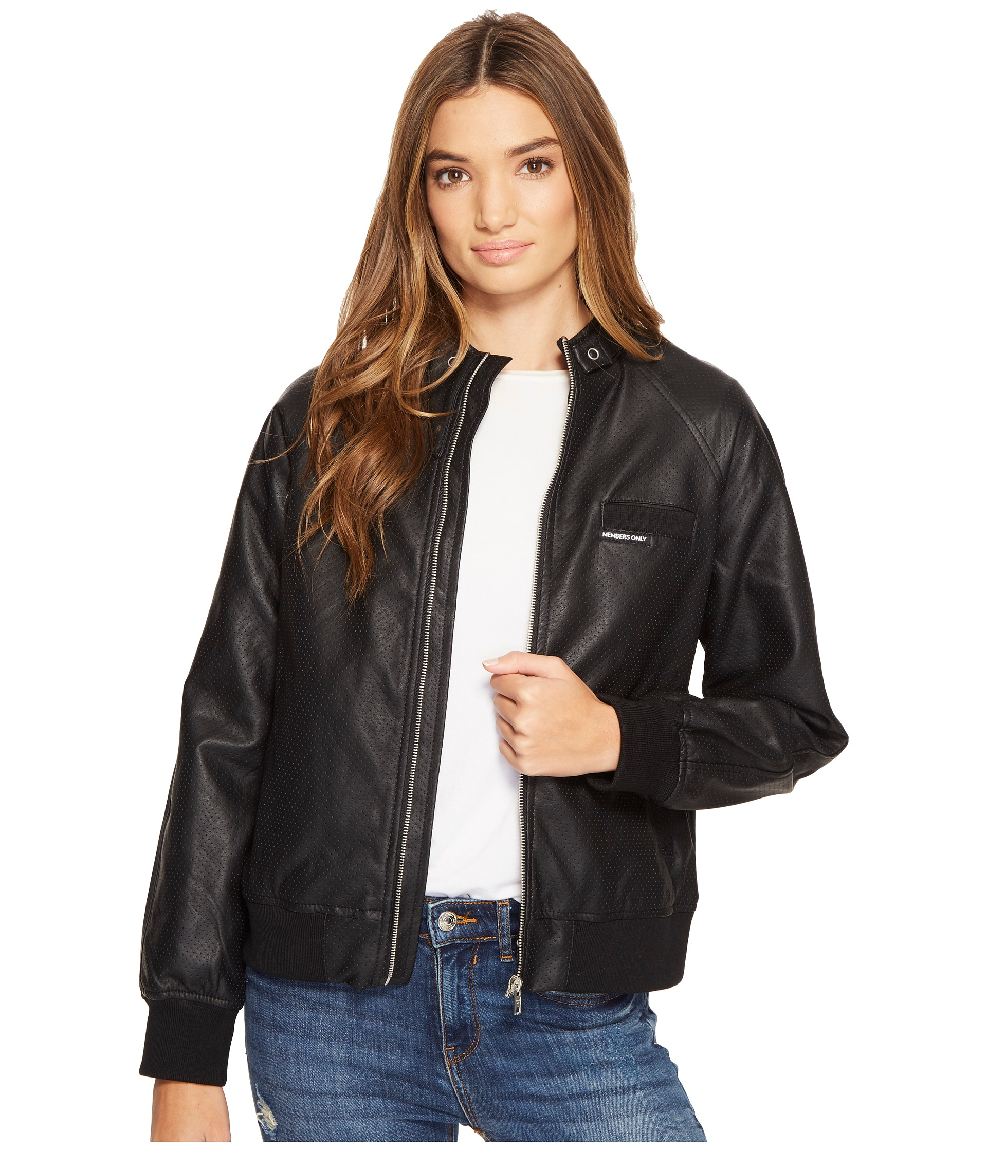 Members Only Faux Leather Bomber Jacket Black Black | Shipped