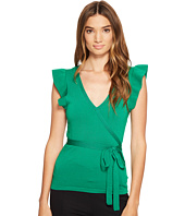 XOXO - Short Sleeve Wrap Front Ruffle Sleeve Top