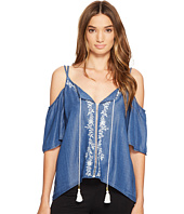 XOXO - Cold Shoulder Embroidered Top