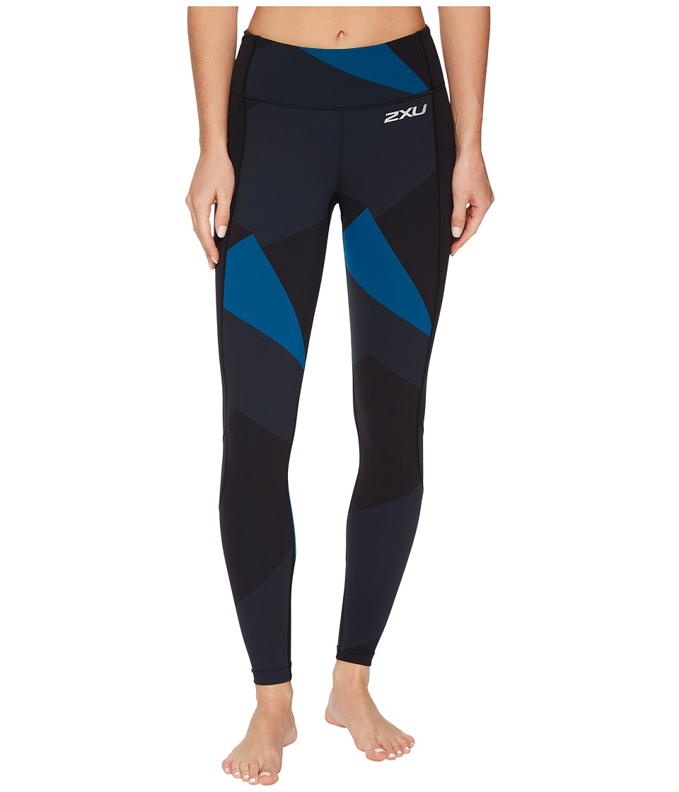 2XU Fitness Compression Tights w/ Storage (Black/Dark Charcoal Jagged Blocks) Women