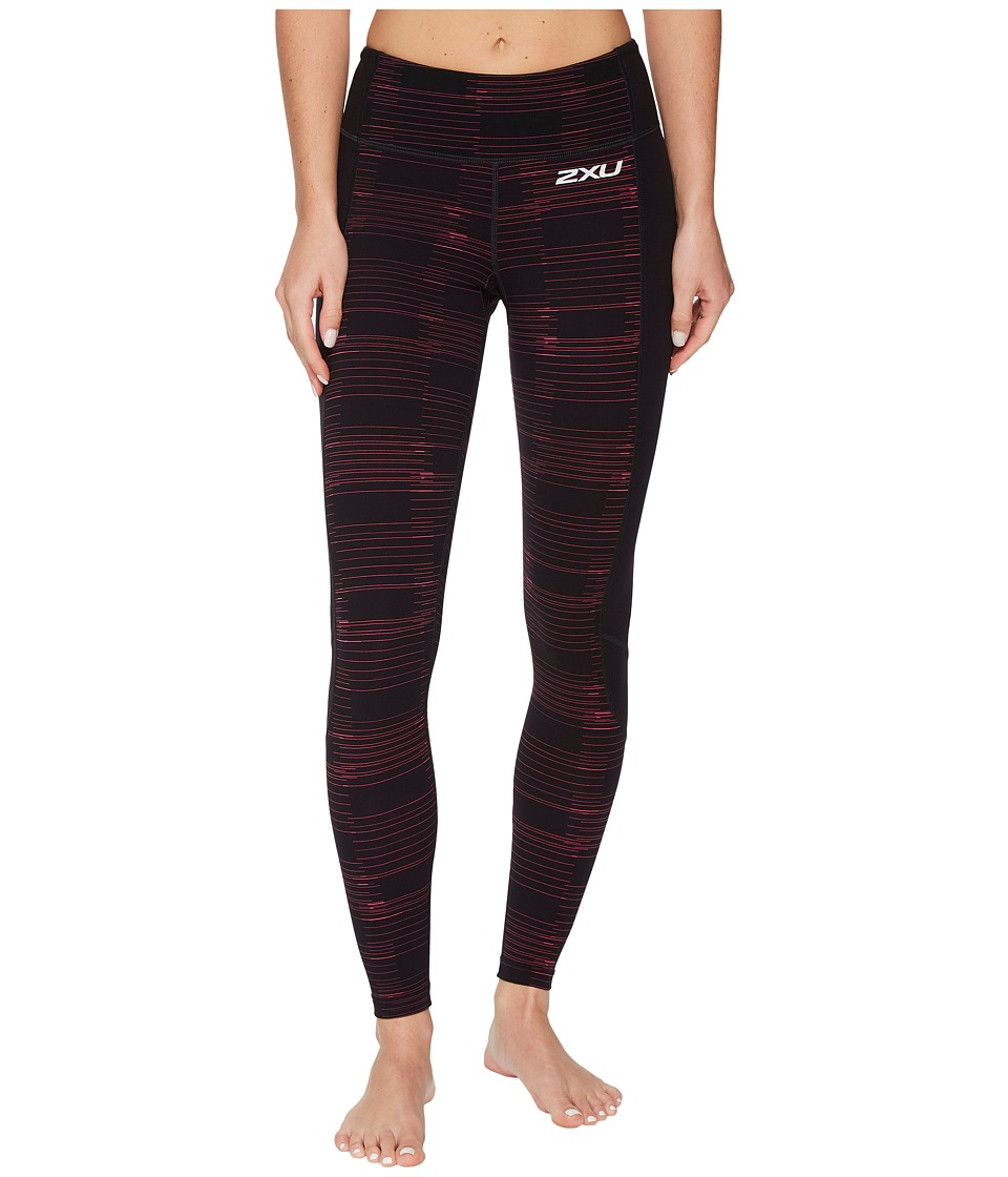 2XU Fitness Compression Tights w/ Storage (Black/Peacock Pink Broken Lines) Women