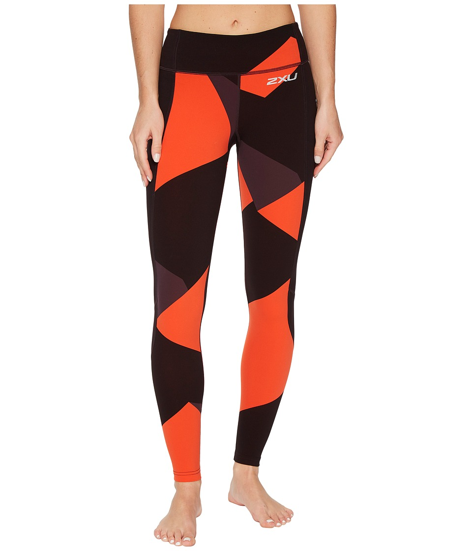 2XU Fitness Compression Tights w/ Storage (Dark Charcoal/Cherry Tomato Jagged Blocks) Women