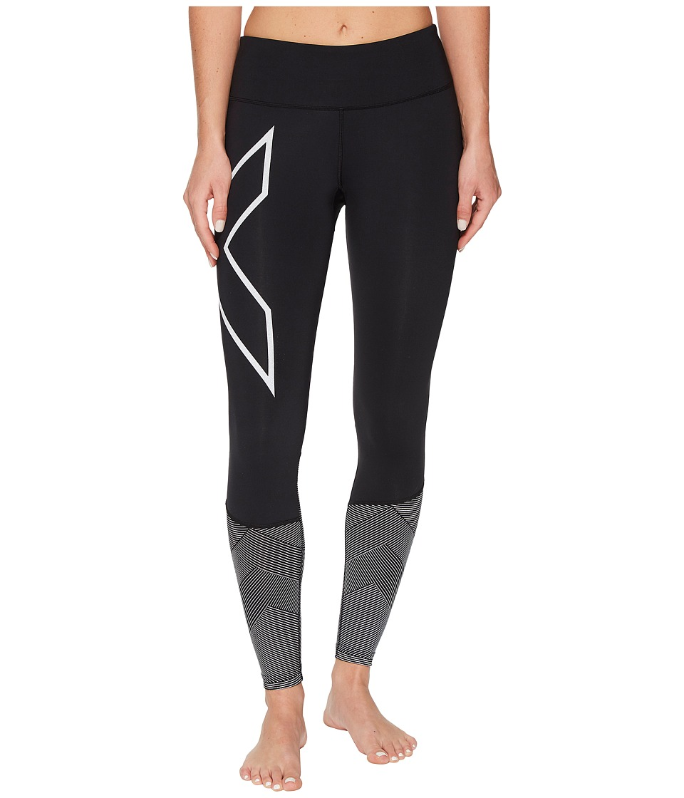 2XU Mid-Rise Reflect Compression Tights (Black/Silver Reflective) Women