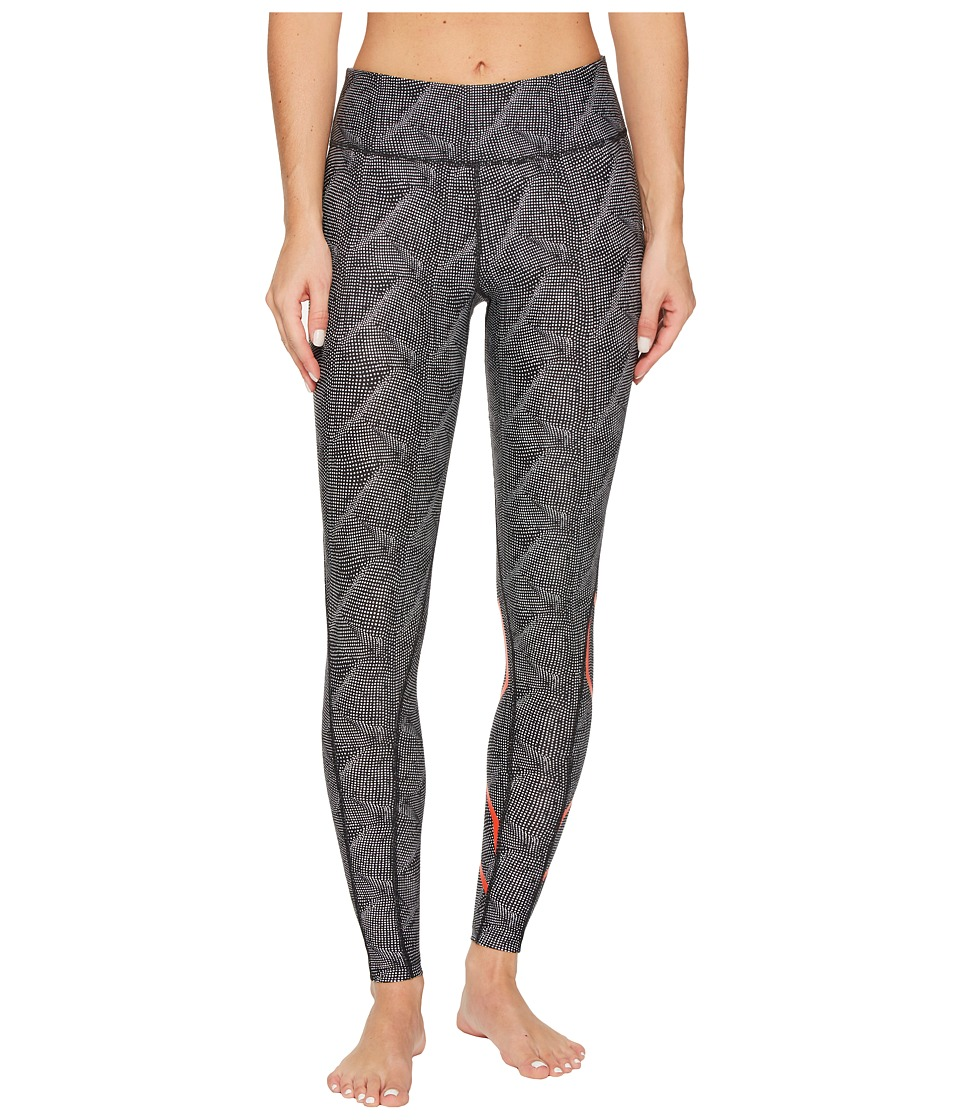 2XU Mid-Rise Print Compression Tights w/ Storage (Dark Charcoal White 3D Dots/Cherry Tomato) Women