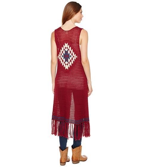 Stetson 1167 Dark Red Calf Length Fringe Sweater