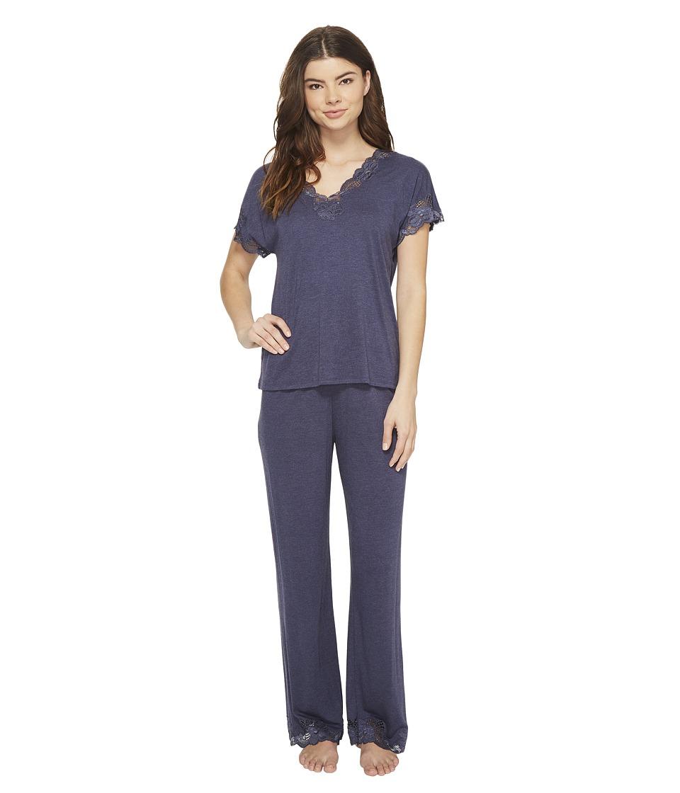 Natori - Zen Floral S/S PJ (Heather Night Blue) Womens Pajama Sets
