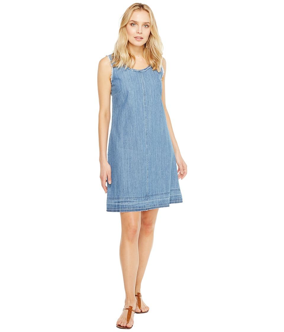 Stetson Sleeveless Raw Edge Denim Dress (Blue) Women