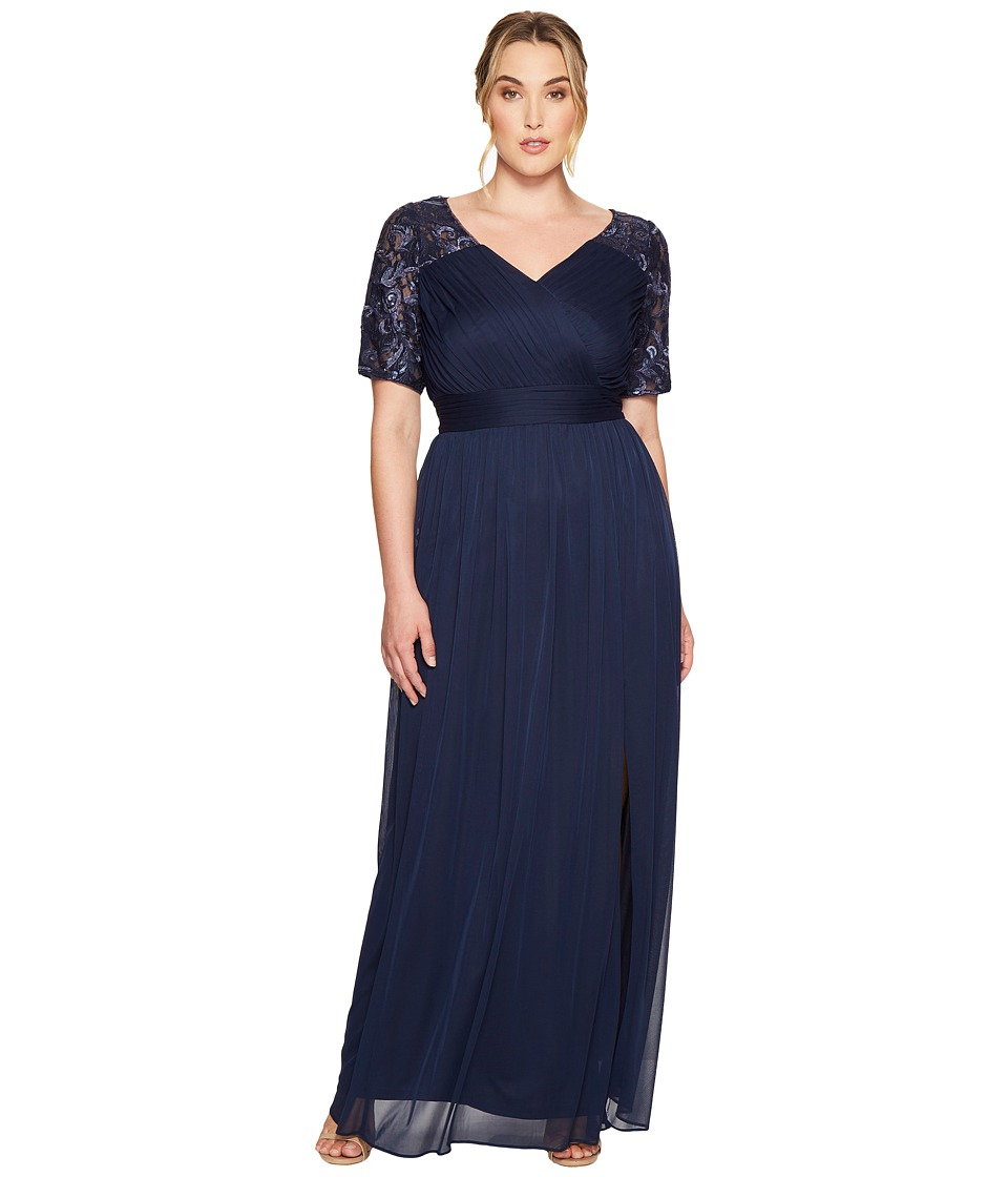 Adrianna Papell - Plus Size V-Neck Sequin and Stretch Tulle Gown w/ Elbow Sleeve