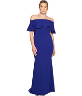 Adrianna Papell - Plus Size Knit Crepe Off-the-Shoulder Gown w/ Popover