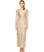 Adrianna Papell - Petite Short Sleeve Fully Embroidered Gown w/ Popover Detail